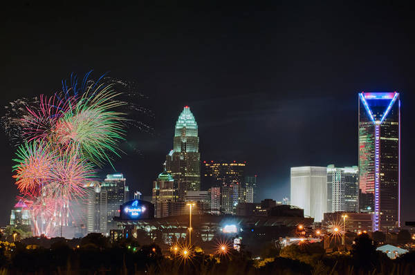 4th Of July Firework Over Charlotte Skyline Poster