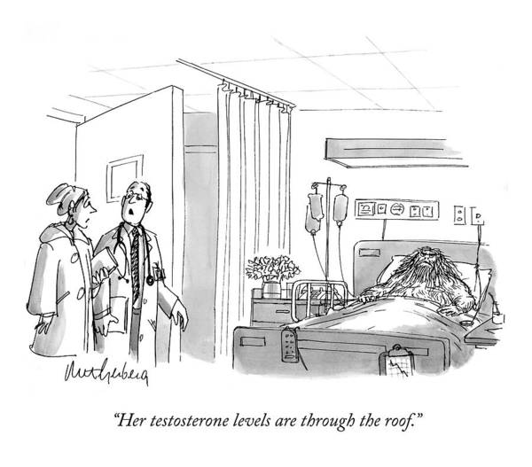 A Caveman Is Seen Lying In A Hospital Bed Poster
