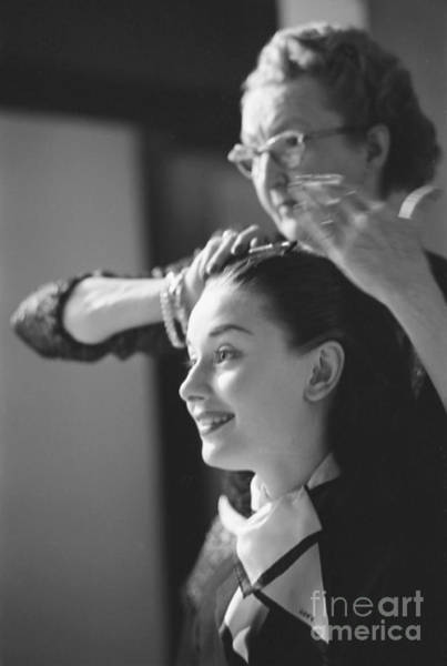 Audrey Hepburn Preparing For A Scene In Roman Holiday Poster