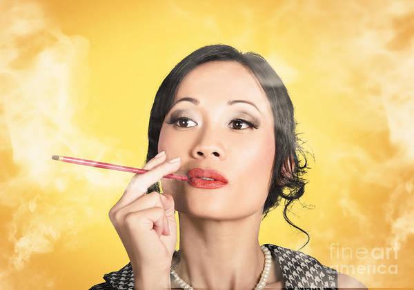 Beautiful Reto Lady Smoking On Yellow Background Poster