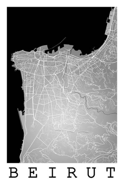 Beirut City Street Map - Beirut Lebanon Road Map Art On Color Poster