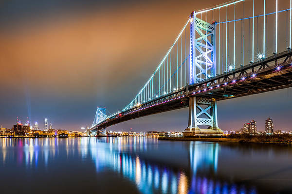 Poster featuring the photograph Ben Franklin Bridge And Philadelphia Skyline By Night by Mihai Andritoiu