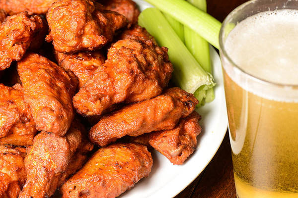 Buffalo Wings With Celery Sticks And Beer Poster