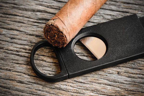 Cigar And Cigar Cutter On Rustic Wood Background Poster