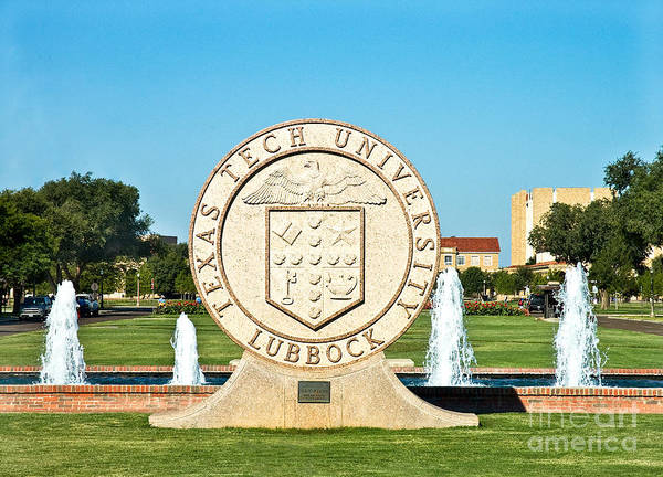Poster featuring the photograph Classical Image Of The Texas Tech University Seal  by Mae Wertz