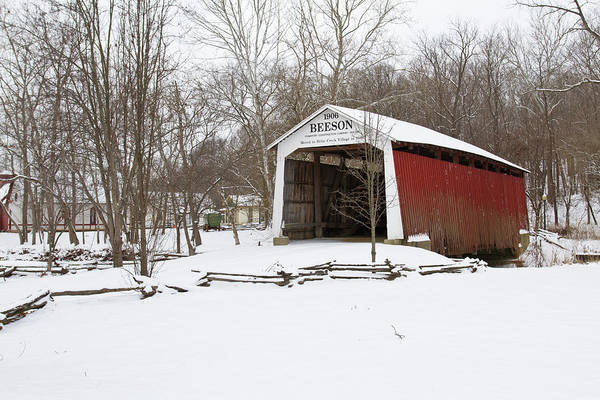 Covered Bridge In Snow Covered Forest Poster