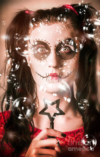 Day Of The Dead Girl Blowing Party Bubbles Poster