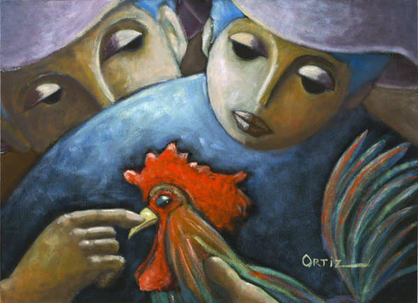 Poster featuring the painting El Gallo by Oscar Ortiz