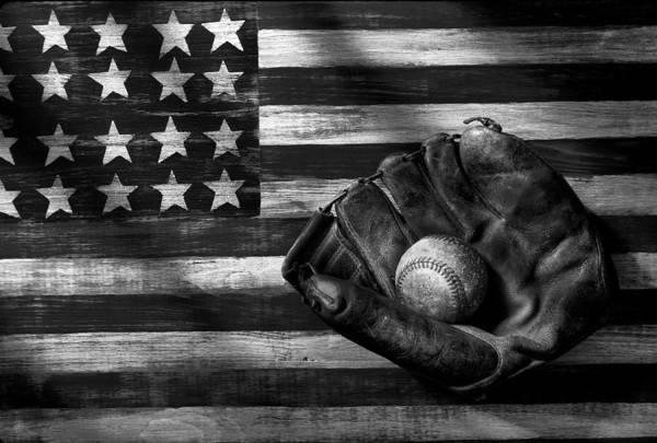 Folk Art American Flag And Baseball Mitt Black And White Poster