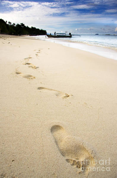 Footprints On Tropical Beach Poster