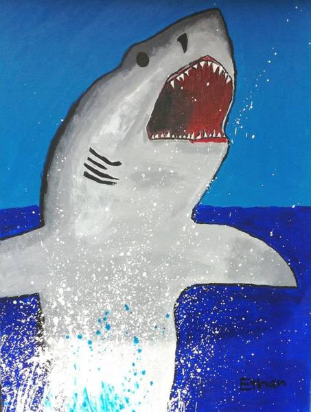 Poster featuring the painting Giant Great White by Ethan Chaupiz