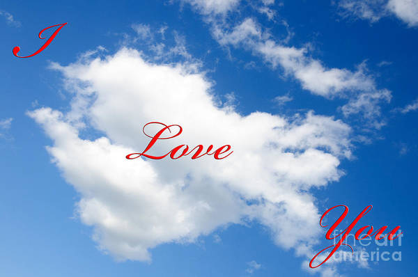 1 I Love You Heart Cloud Poster