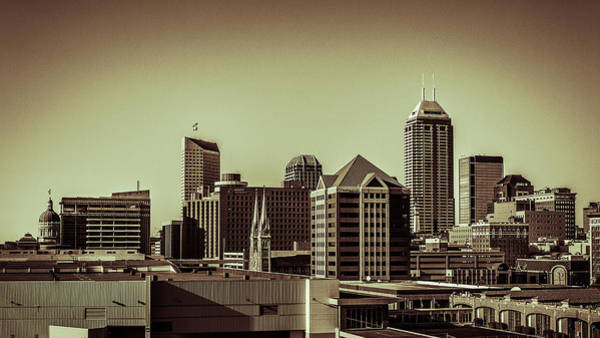 Indianapolis Skyline - Black And White Poster