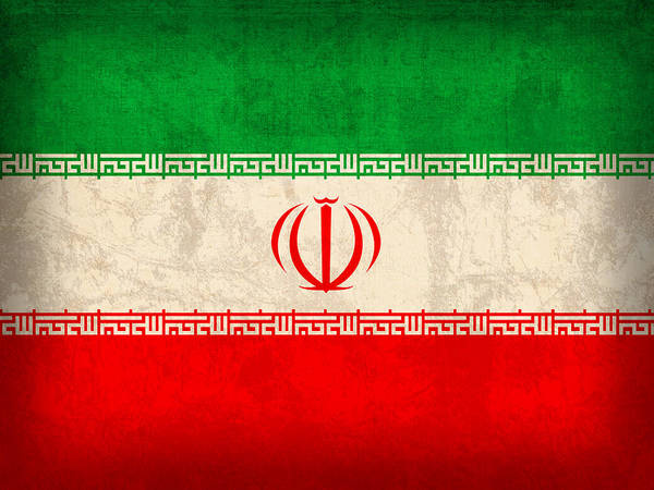 Iran Flag Vintage Distressed Finish Poster