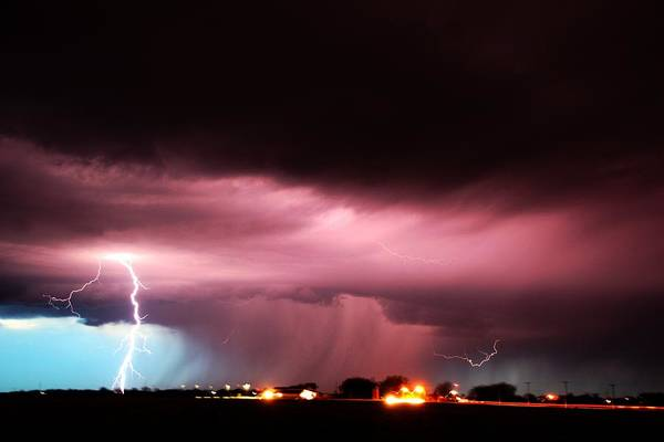 Late Evening Nebraska Thunderstorm Poster