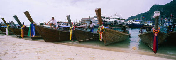 Longtail Boats Moored On The Beach, Ton Poster