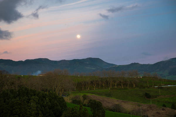 Moon Over The Hills Of Povoacao Poster