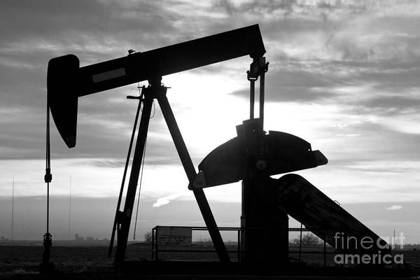 Oil Well Pump Jack Black And White Poster