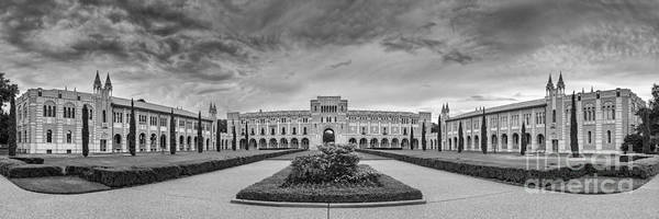 Panorama Of Rice University Academic Quad Black And White - Houston Texas Poster