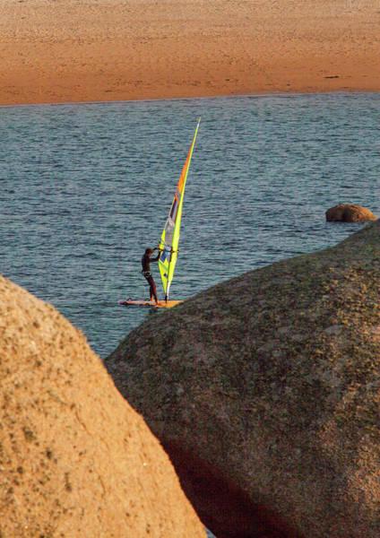 Pierre Le Coq Riding His Windsurf Board Poster