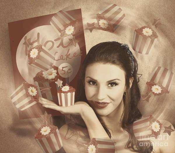 Retro Cupcake Poster Girl Adverting Baked Cake Poster