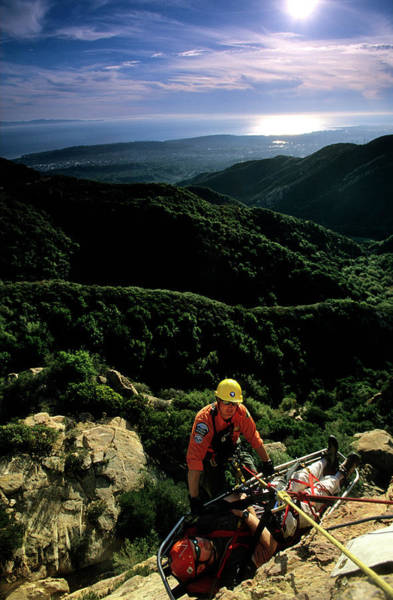 Search And Rescue Climber Tending Body Poster