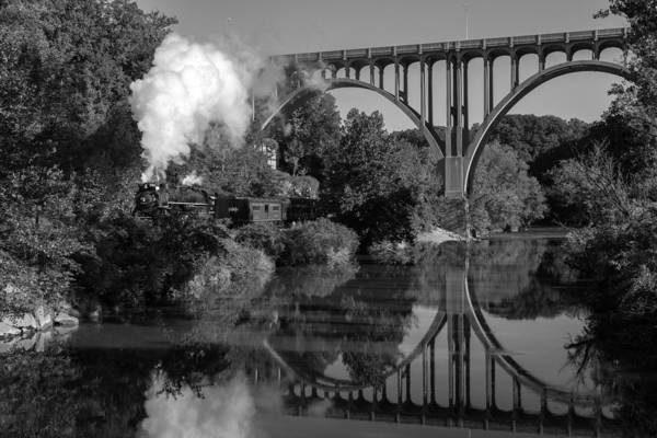 Steam In The Valley Nkp 765 Black And White Poster