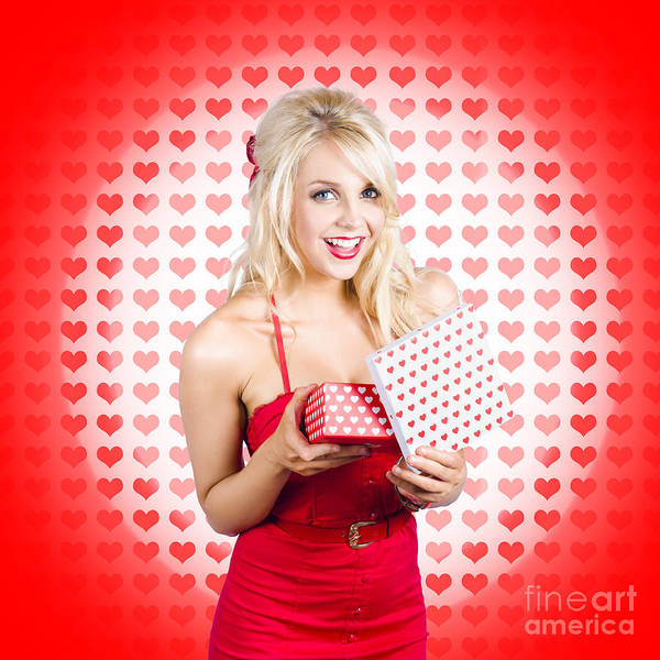 Stunning Young Blond Beauty Holding Heart Present Poster