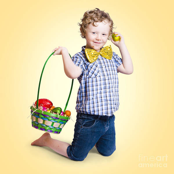 Sweet Little Child Holding Easter Egg Basket Poster