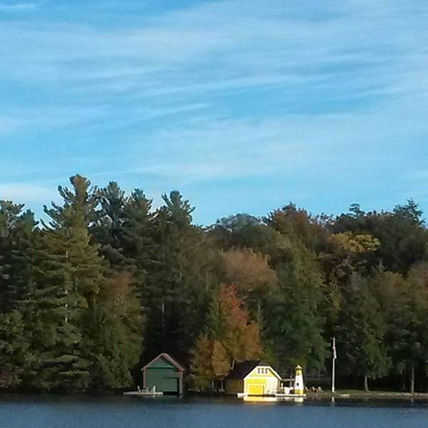 The Yellow Boathouse On Old Forge Pond Poster