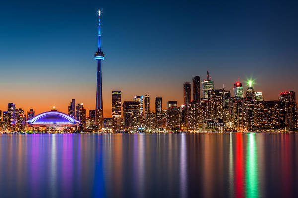 Poster featuring the photograph Toronto Skyline At Dusk by Mihai Andritoiu