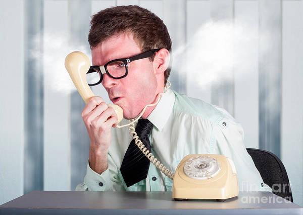Unhappy Nerd Businessman Yelling Down Retro Phone Poster