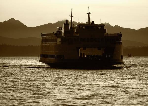Usa, Washington, Ferry Boat At Sunset Poster