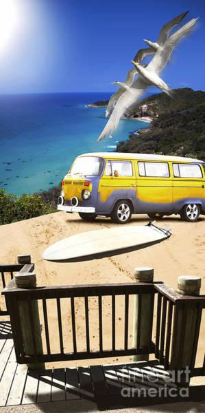 Van And Surf Board At Beach Poster