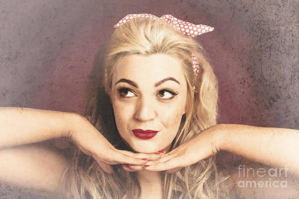 Vintage Face Of Nostalgia. Retro Blond 1940s Girl  Poster
