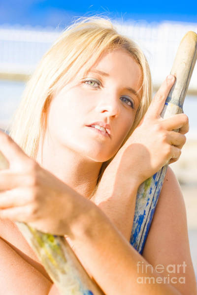 Water Sport Woman Holding Oars Poster