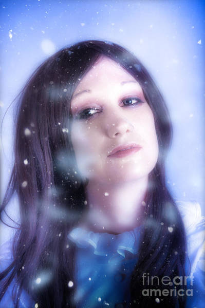 White Christmas Girl. Falling Snow And Ice On Face Poster
