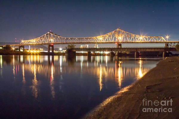 Poster featuring the photograph Winona Bridge At Sunset by Kari Yearous