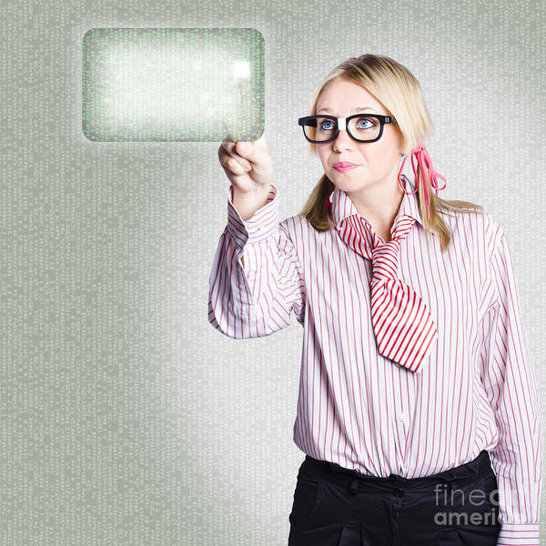 Woman Pressing Touch Screen Technology Button Poster