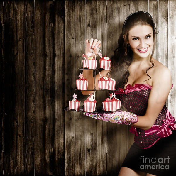 Young Baking Woman With Boutique Desert Platter Poster