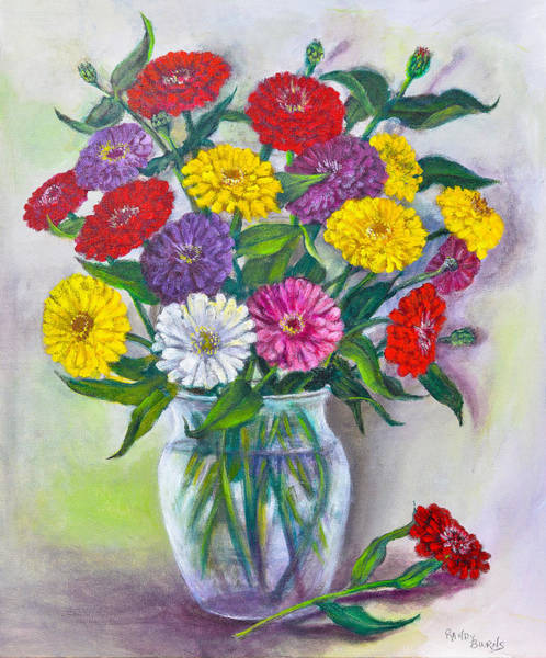 Old Fashioned Zinnias Poster