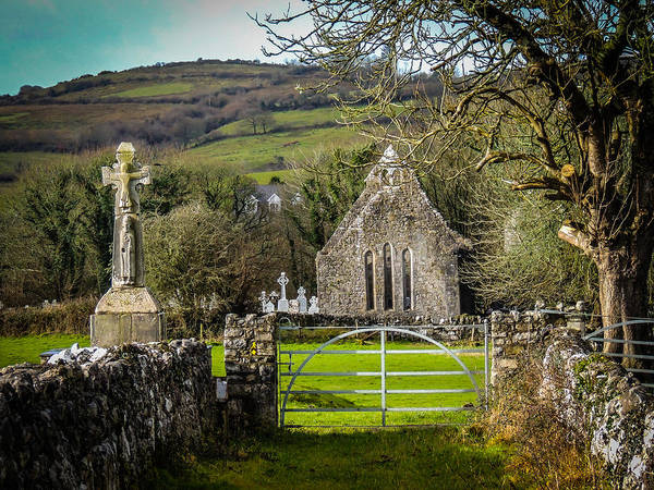 12th Century Cross And Church In Ireland Poster