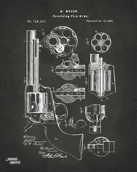 1875 Colt Peacemaker Revolver Patent Artwork - Gray Poster