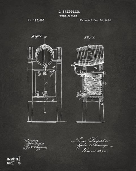 1876 Beer Keg Cooler Patent Artwork - Gray Poster