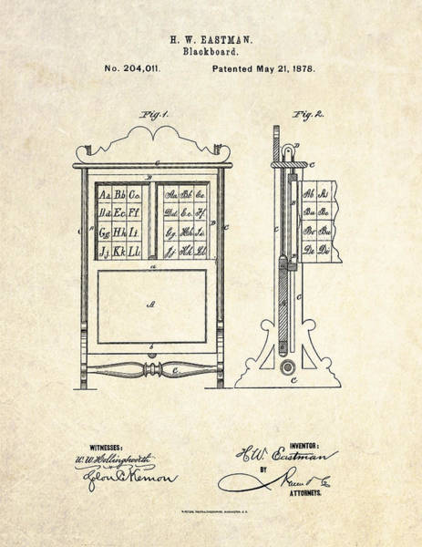1878 Blackboard Patent Art Poster