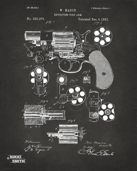 1881 Colt Revolving Fire Arm Patent Artwork - Gray Poster