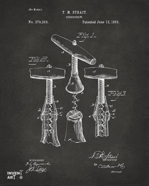 1883 Wine Corckscrew Patent Artwork - Gray Poster