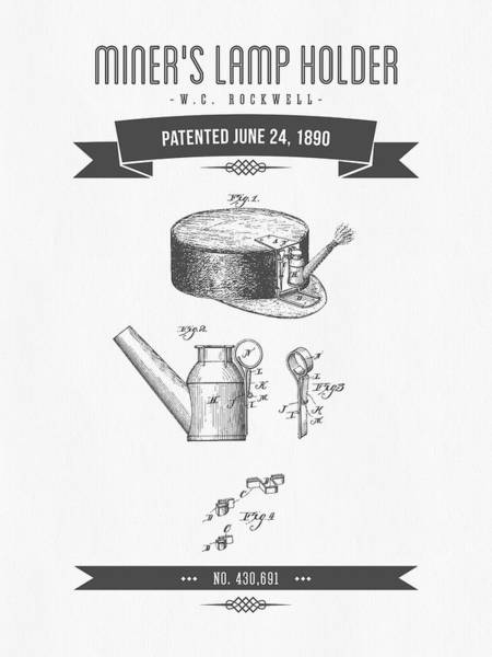 1890 Miners Lamp Holder Patent Drawing - Retro Gray Poster