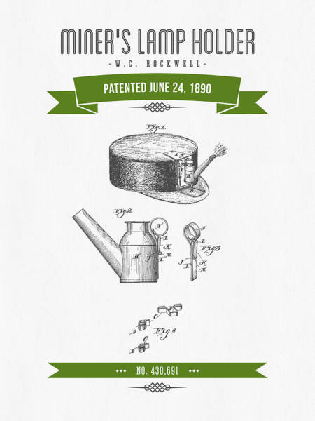 1890 Miners Lamp Holder Patent Drawing - Retro Green Poster