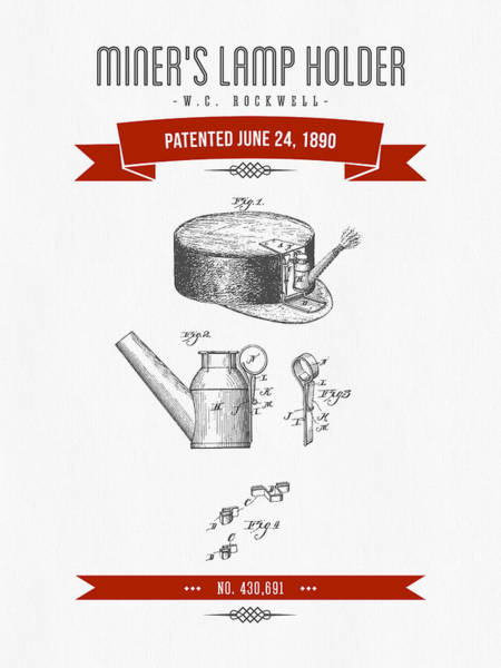 1890 Miners Lamp Holder Patent Drawing - Retro Red Poster